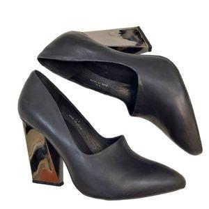 Jeffrey Campbell Black Larilisa Leather Mirrored Block Heels sz 8.5